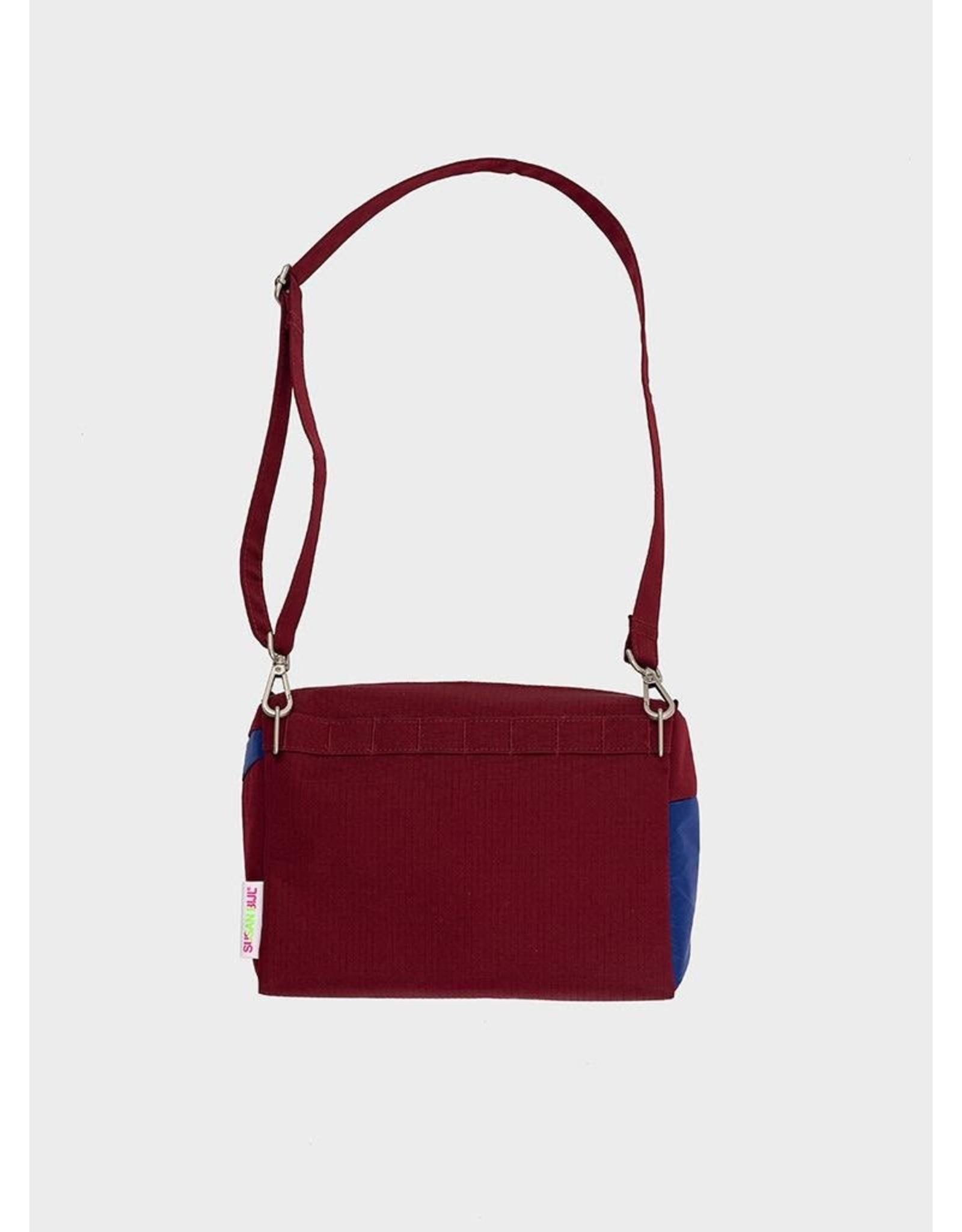 Susan Bijl Bum Bag M, Electric Blue & Bordeaux   19 x 28 x 8,5