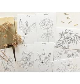Papillonage Wenskaarten - des fleurs - 8st - 13,5 x 8,5