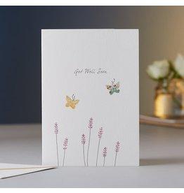 Eloise Halle Wenskaart - Lavender Get well soon  - Dubbele Kaart + Envelop - 11,5 x 16,5 - Blanco