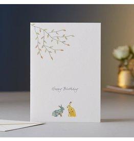 Eloise Halle Wenskaart - Two hares birthday  - Dubbele Kaart + Envelop - 11,5 x 16,5 - Blanco