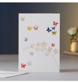 Eloise Halle Wenskaart - Butterflies & orchids - Dubbele Kaart + Envelop - 11,5 x 16,5 - Blanco