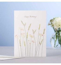 Eloise Halle Wenskaart - Daisies & grass birthday  - Dubbele Kaart + Envelop - 11,5 x 16,5 - Blanco