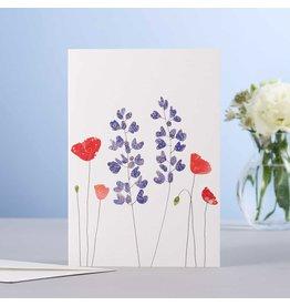 Eloise Hall Wenskaart - Lupines &  Poppies - Dubbele Kaart + Envelop - 11,5 x 16,5 - Blanco