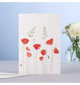 Eloise Hall Wenskaart - Poppies & grass - Dubbele Kaart + Envelop - 11,5 x 16,5 - Blanco
