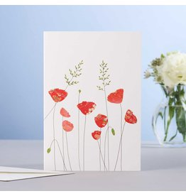 Eloise Halle Wenskaart - Poppies & grass - Dubbele Kaart + Envelop - 11,5 x 16,5 - Blanco