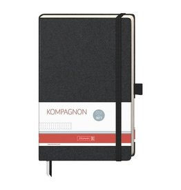 Brunnen Notebook - A5 - dotted - Zwart met roze blaadjes