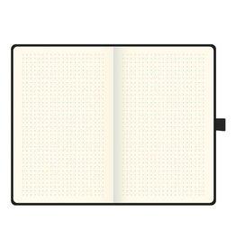 Brunnen Notebook - A5 - dotted - Wit met zwarte blaadjes