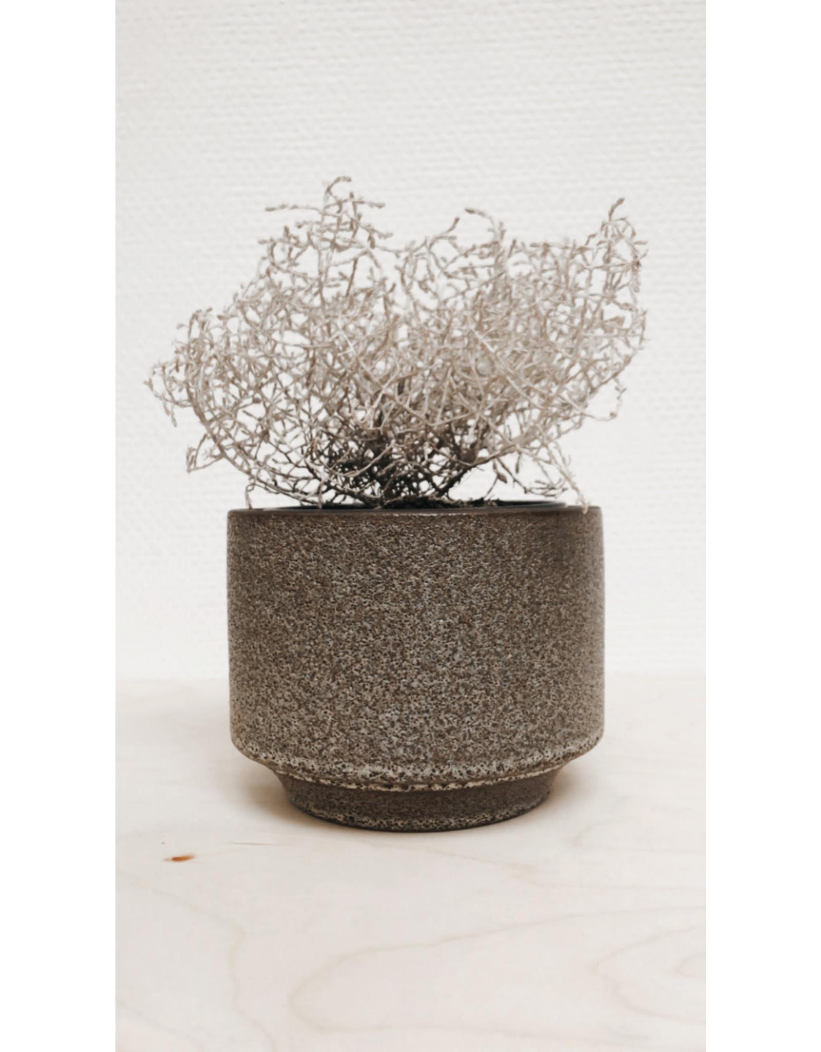 Bloomingville Bloempot - Steen - Groen Bruin - 12,5 x 10 x 9,5 cm