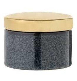 Bloomingville Pot met gouden deksel - Blauw - Ø 9cm, H 6cm, H met deksel 8cm