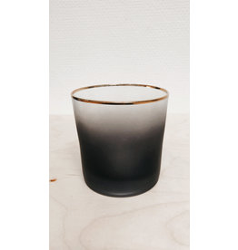 Bloomingville Theelichthouder - Smoked glass, gouden randje - Ø 9cm, H 9cm