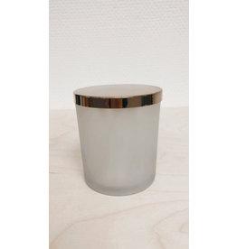 Bloomingville Potje met gouden deksel - melkglas - Ø 8,5cm, H 10cm