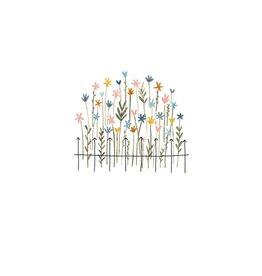 Klein liefs Wenskaart - Tuintje wilde bloemen  - Dubbele kaart + Envelop - 11,5 x 16,5 - Blanco