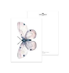 Leo La Douce Wenskaart - Rose Butterfly - Postkaart + Envelope - 10 x 15cm