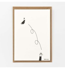 Studio Flash Wenskaart - Graduation - Letterpress Kaart + Envelop - 11,5 x 16,5 - Blanco