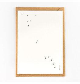 Studio Flash Wenskaart - Birds  - Letterpress Kaart + Envelop - 11,5 x 16,5 - Blanco