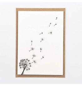 Studio Flash Wenskaart - Dandelion  -  Letterpress Kaart + Envelop - 11,5 x 16,5 - Blanco