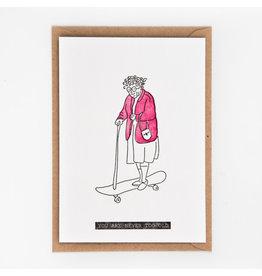 Studio Flash Wenskaart - Never too old  - Letterpress Kaart + Envelop - 11,5 x 16,5 - Blanco
