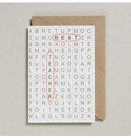 Petra Boase Wenskaart - Kruiswoordpuzzel Best Teacher - Dubbele Kaart met envelop - blanco