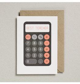Petra Boase Wenskaart - Rekenmachine Best Teacher - Dubbele Kaart met envelop - blanco