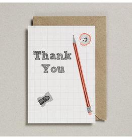 Petra Boase Wenskaart - Potlood en slijper Thank you - Dubbele Kaart met envelop - blanco