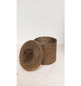 Vanremoortel Gift box - Goud - Pareltjes - Ø 9cm, H 8,5cm