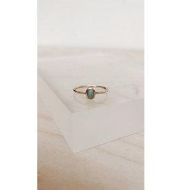 Muja Juma Ring - Bolle Ovaal 6mm met Edelsteen - Amazoniet -