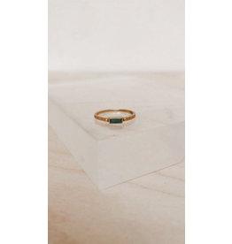 Muja Juma Ring - Rechthoek 6 x 3 mm  met Edelsteen - Green Zed-