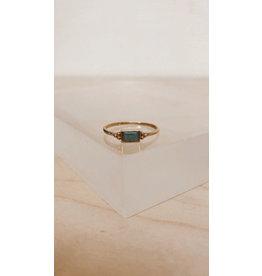 Muja Juma Ring - Rechthoek 5 x 4 mm, Dots en Edelsteen - Zilver verguld - Amazoniet