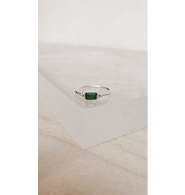 Muja Juma Ring - Rechthoek 5 x 4 mm, Dots en Edelsteen - Zilver  - Green Zed