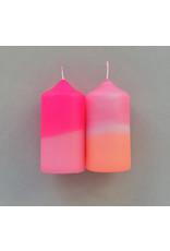 Pink Stories Kaars - Blokkaarsen - Dip Dye Neon - Flamingo Feathers - 2st - Ø 4,8 x 10 cm