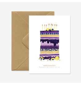 ATWS Wenskaart - Blueberry cake - Dubbele kaart + Envelop - 11,5 x 16,5 - Blanco