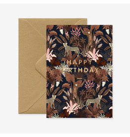 ATWS Wenskaart - Monkie Happy Birthday - Dubbele kaart + Envelop - 11,5 x 16,5 - Blanco