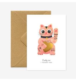 ATWS Wenskaart - Lucky cat  - Dubbele kaart + Envelop - 11,5 x 16,5 - Blanco