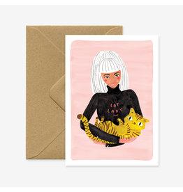 ATWS Wenskaart - Cat lady  - Dubbele kaart + Envelop - 11,5 x 16,5 - Blanco