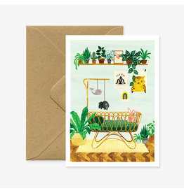 ATWS Wenskaart - Boy Bedroom  - Dubbele kaart + Envelop - 11,5 x 16,5 - Blanco