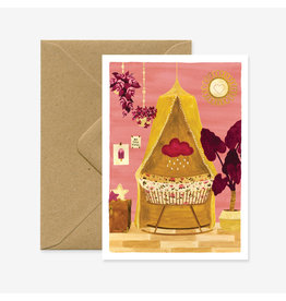 ATWS Wenskaart - Girl Bedroom  - Dubbele kaart + Envelop - 11,5 x 16,5 - Blanco