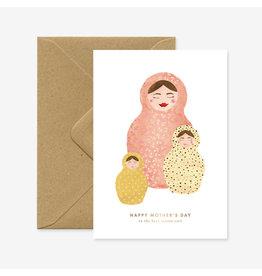ATWS Wenskaart - Best mama - Dubbele kaart + Envelop - 11,5 x 16,5 - Blanco
