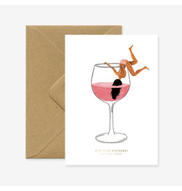 ATWS Wenskaart - Just a drink - Dubbele kaart + Envelop - 11,5 x 16,5 - Blanco