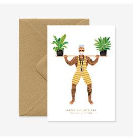 ATWS Wenskaart - Strong dad  - Dubbele kaart + Envelop - 11,5 x 16,5 - Blanco