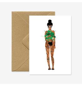 ATWS Wenskaart - Naked girl with plant  - Dubbele kaart + Envelop - 11,5 x 16,5 - Blanco