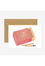 ATWS Wenskaart - Match box  - Dubbele kaart + Envelop - 11,5 x 16,5 - Blanco