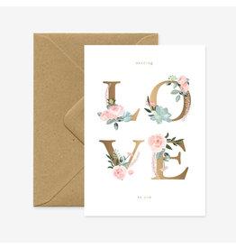 ATWS Wenskaart - LOVE letters  - Dubbele kaart + Envelop - 11,5 x 16,5 - Blanco