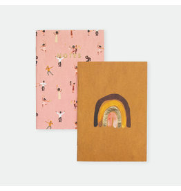 ATWS Notebook - Terracota Rainbow & Dancers - 10,5 x 14,8 cm - Golf foil - 36 blank pages