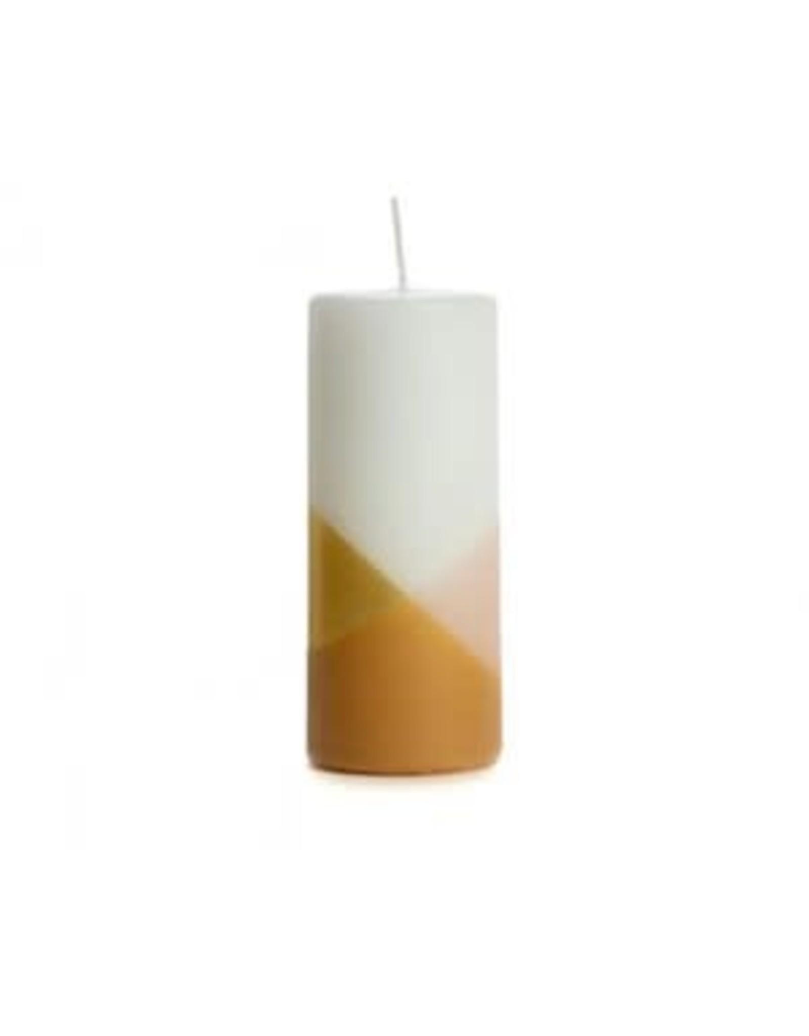 Rustik Lys Kaars - Blokkaars Cross  - Blossom  - Ø 6 x 15 cm - Brandtijd +/- 54u