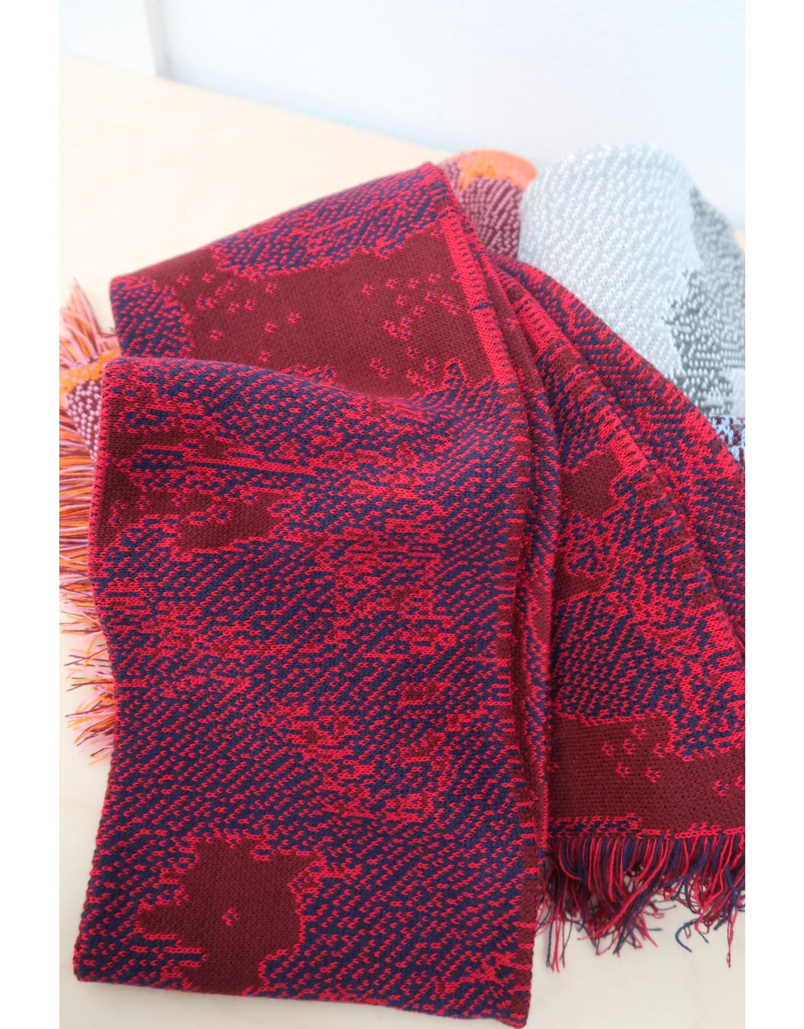 Violet Nys Sjaal - Rood, Donkerblauw, Kastanje - Acryl - 17 x 145 cm