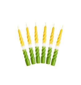 Kunst industrien Kaars met een twist - Multi - Green, Honey, White - 2st - Ø 2,2 x H 21cm