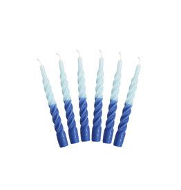 Kunst industrien Kaars met een twist - Multi - Ligth and Dark Blue - 2st - Ø 2,2 x H 21cm