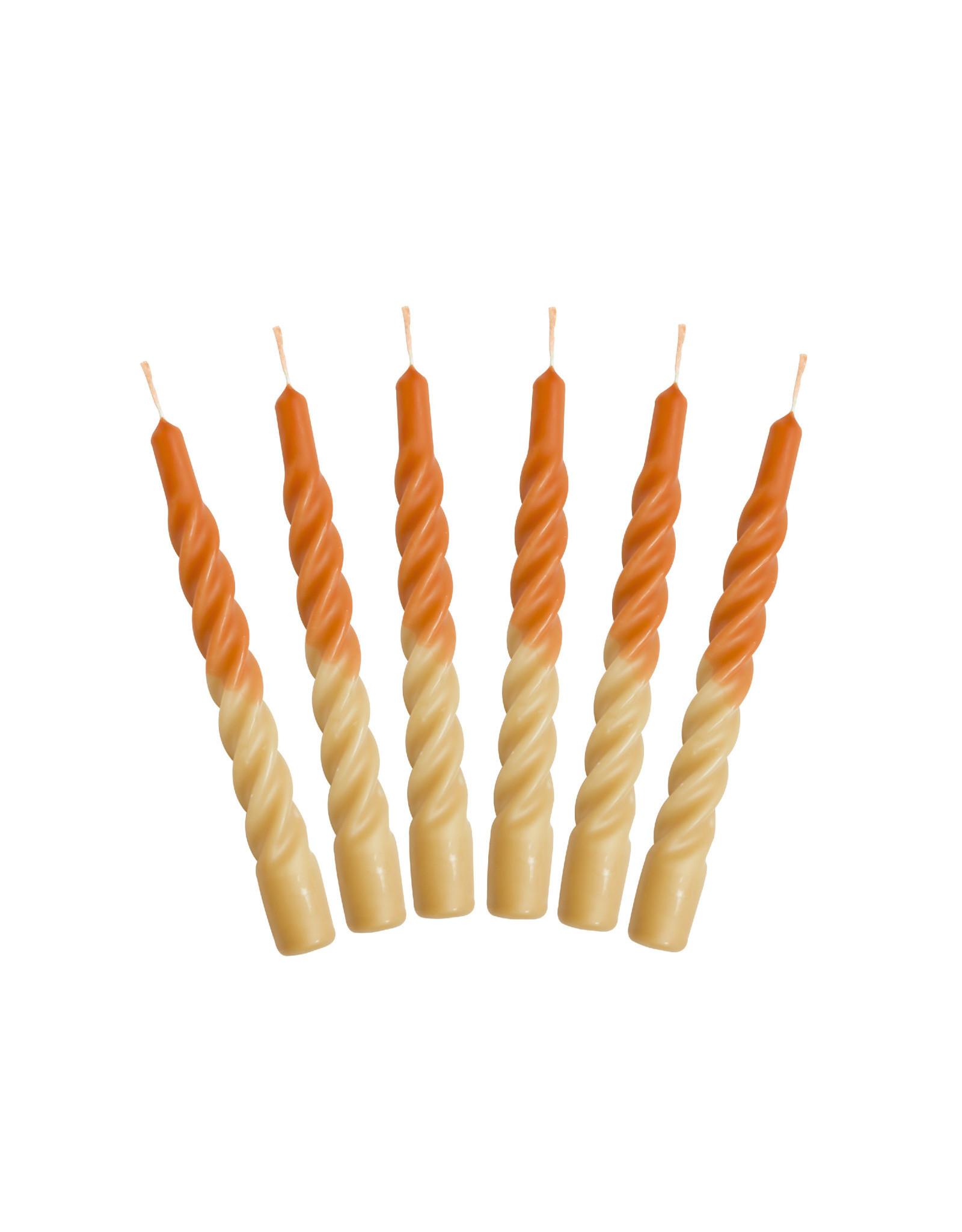 Kunst industrien Kaars met een twist - Multi - Orange/ Yellow - 2st - Ø 2,2 x H 21cm