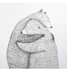 A-line tekent Print - Troostende beren - 15 x 21 cm + Envelope