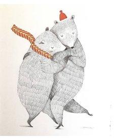 A-line tekent Print - Dansende beren - 15 x 21 cm + Envelope